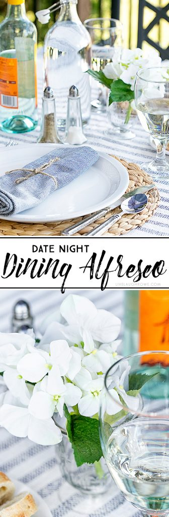 Enjoy a date night dining alfresco in your own backyard. This lifestyle blogger created a simple table setting to enjoy a delicious meal outdoors with her husband. More details at livelaughrowe.com