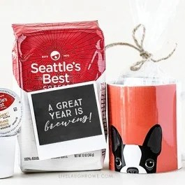 """Love this teacher gift idea from livelaughrowe.com! Give the gift of coffee (bag or k-cups) with this darling printable -- """"A great year is brewing!"""""""