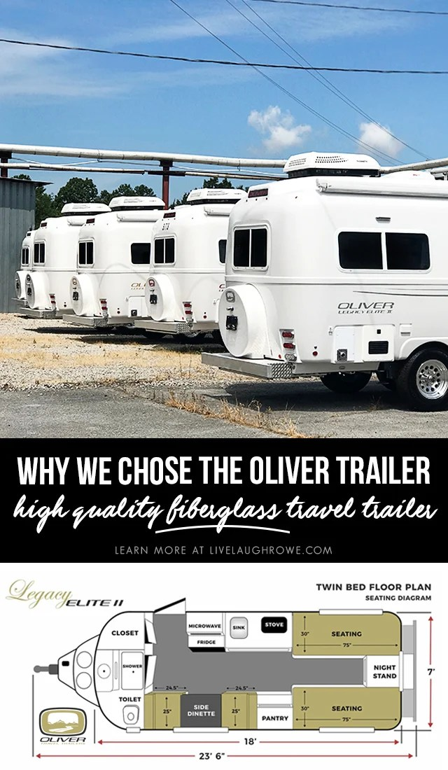 Why we chose the Oliver Trailer when shopping for a travel trailer! Learn more at livelaughrowe.com