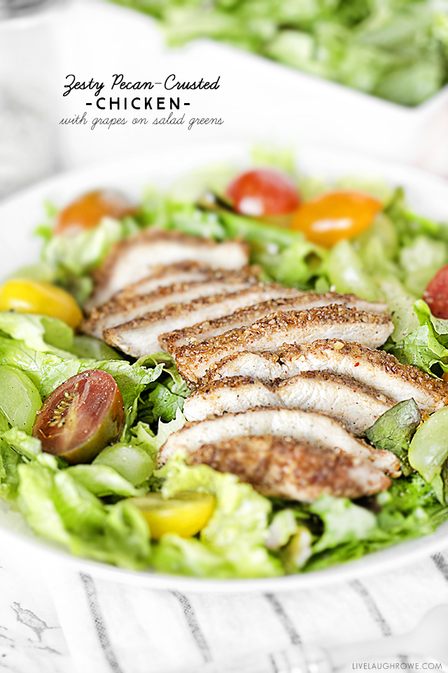 Delicious Mediterranean dish with pecan-crusted chicken on salad greens. Add some grapes and a drizzle of Spectrum® Organic Garlic & Chili Sesame Oil for twist of sweet and spicy! Recipe at livelaughrowe.com