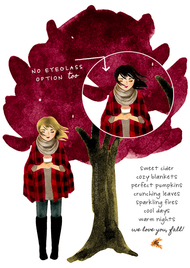 Fall Watercolor with a lovely Autumn quote: Sweet Cider, Cozy Blankets, Perfect Pumpkins, Crunching Leaves, Sparkling Fires, Cool Days, Warm Night -- We Love You, Fall! Free Printable at livelaughrowe.com