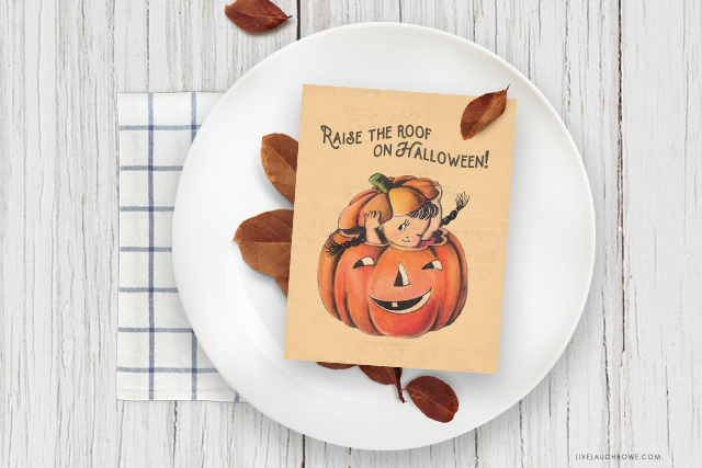 Leaves and Halloween Printable on a Plate