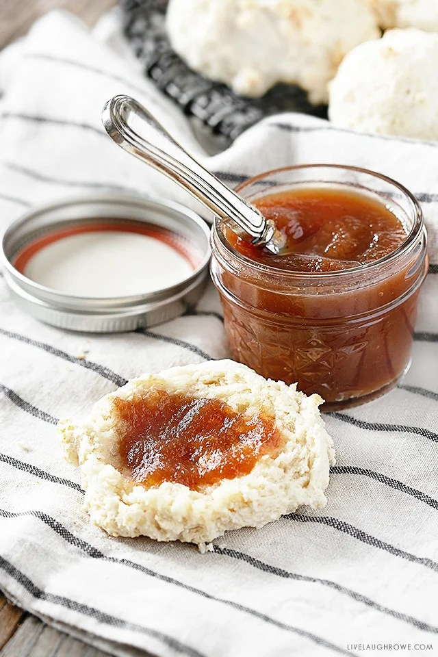 Delicious Crockpot Apple Butter with a Biscuit