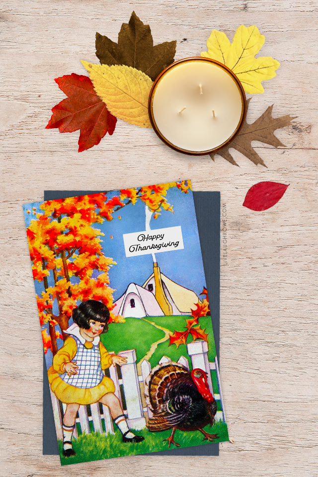 Thanksgiving Card with candles and leaves
