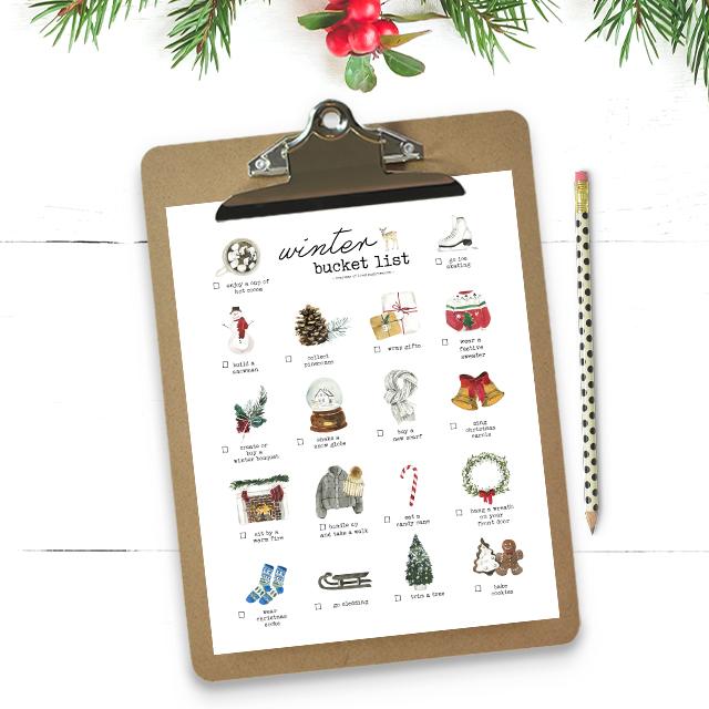 Bucket List on Clipboard and Winter Greenerery