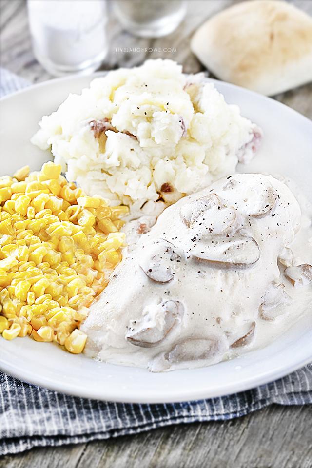 Crockpot Chicken Recipe with Mushrooms on Plate