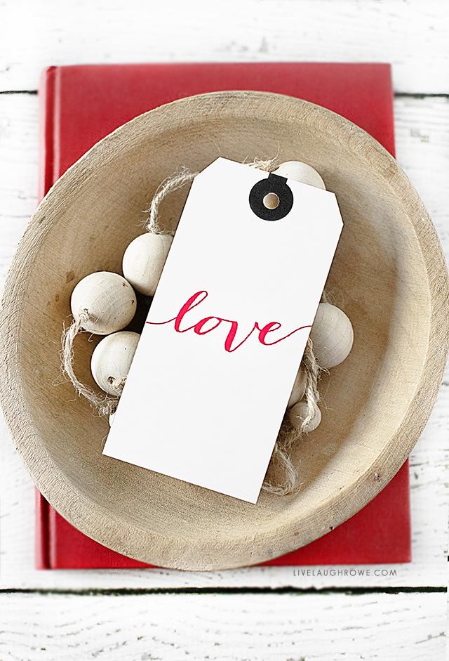Script Love Valentine's Day Gift Tag sitting in bowl