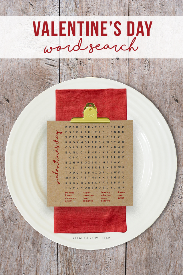 Free Word Search Game on a Plate. Valentines Day Puzzle