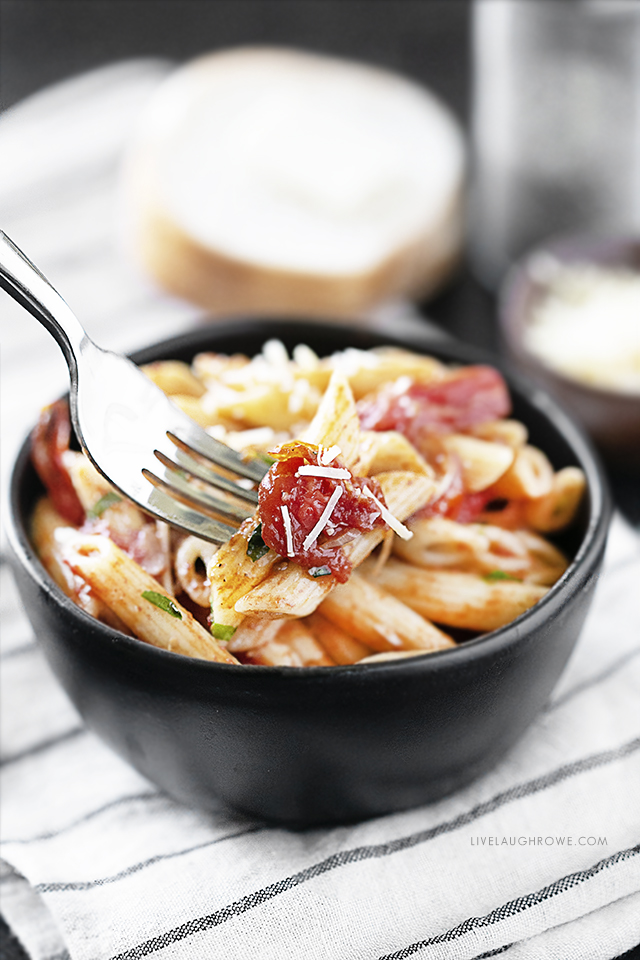 Forkful of Oven Roasted Cherry Tomatoes and Pasta
