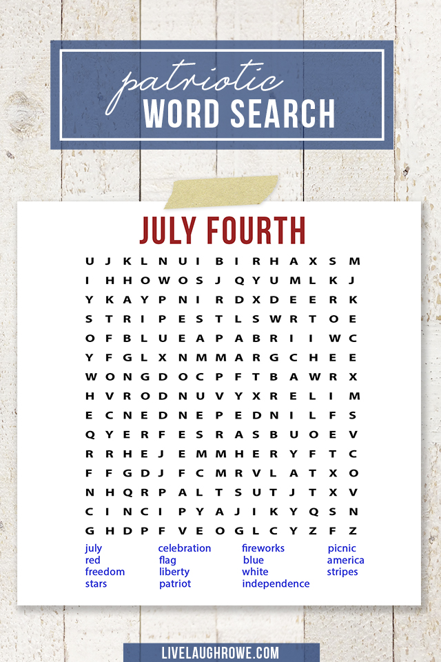 Word Search Printable for July 4th