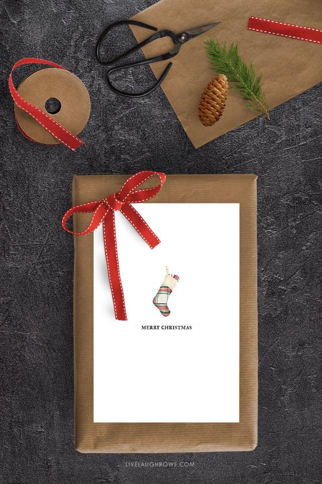 Free Printable Christmas Card with Stocking