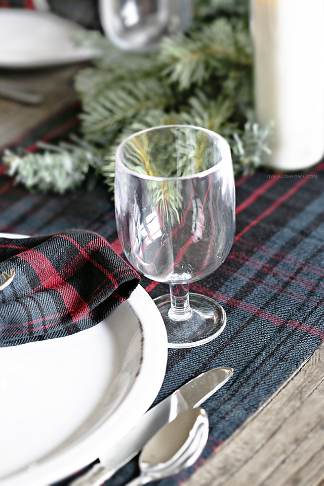 Acrylic Wine Glass in Christmas Tablescape