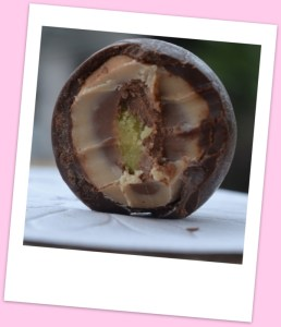 Dark & light praline centre with a green marzipan middle
