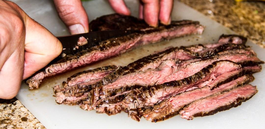 Flank steak-slice against the grain.