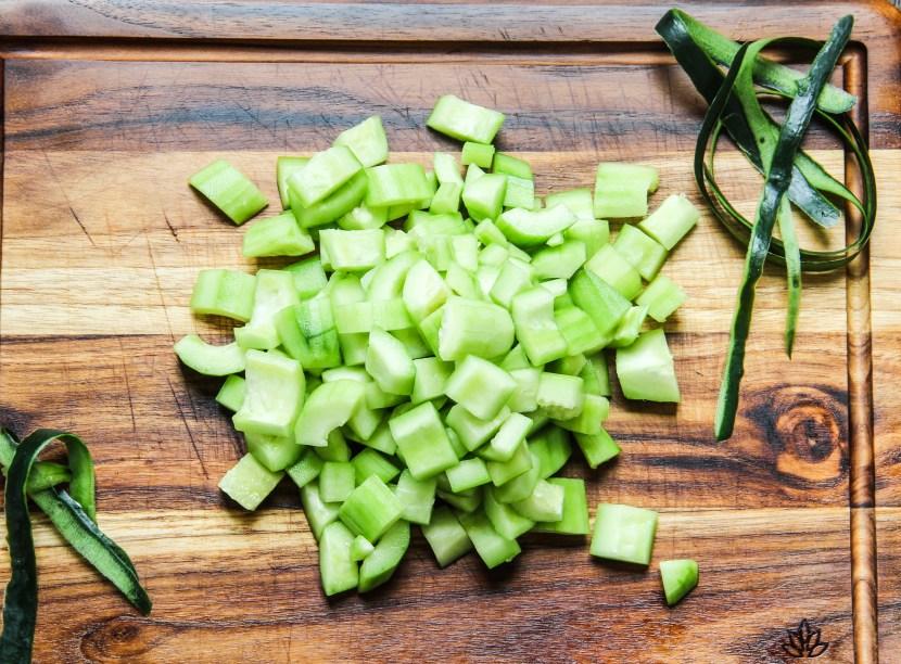 chopped cucumbers