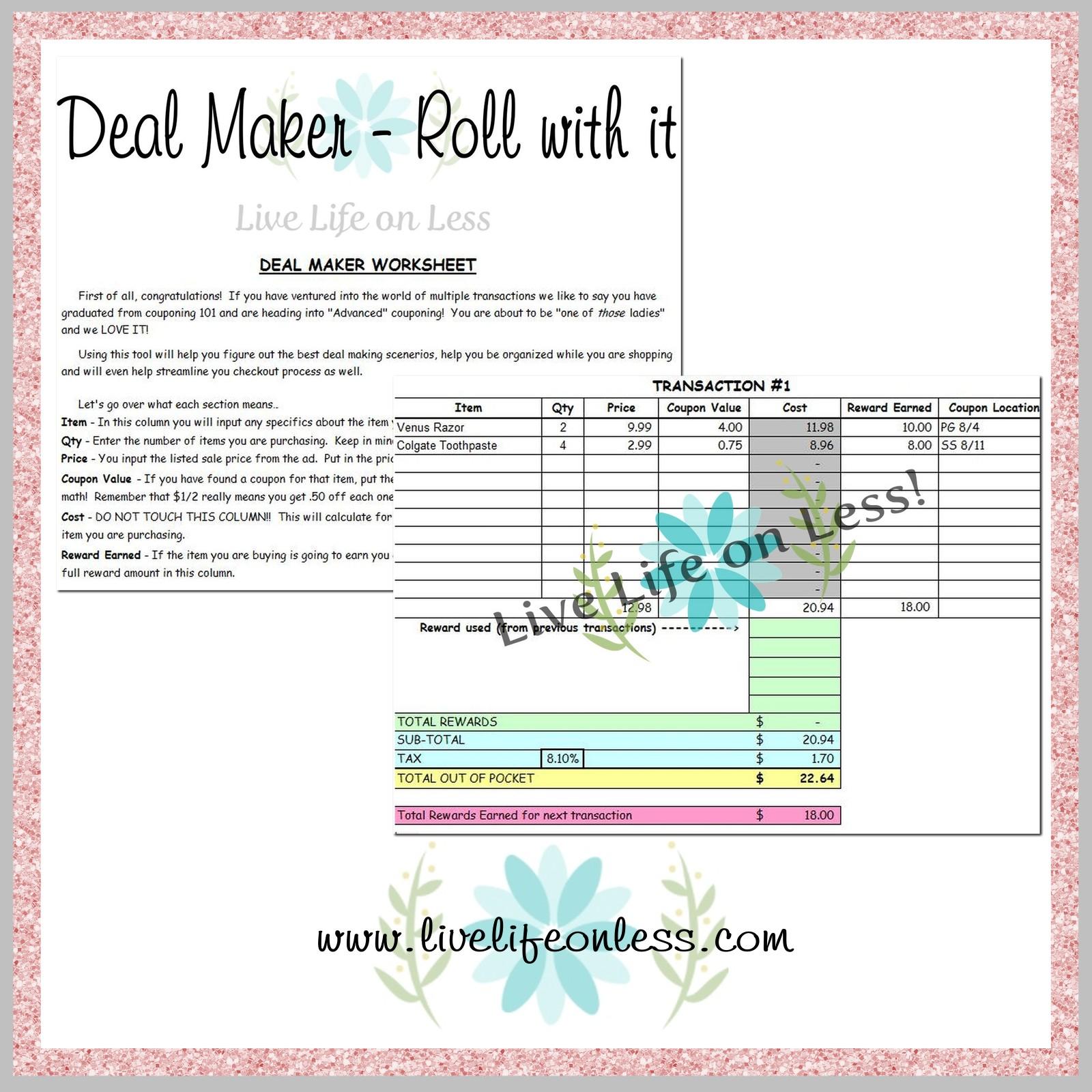 Deal Maker Rolling Transaction Worksheet Live Life On Less