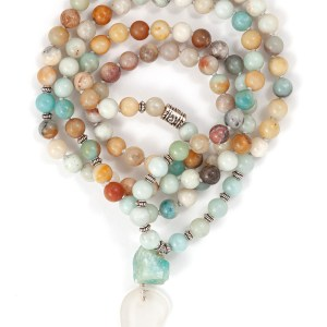 Amazonite & Beach Glass Mala