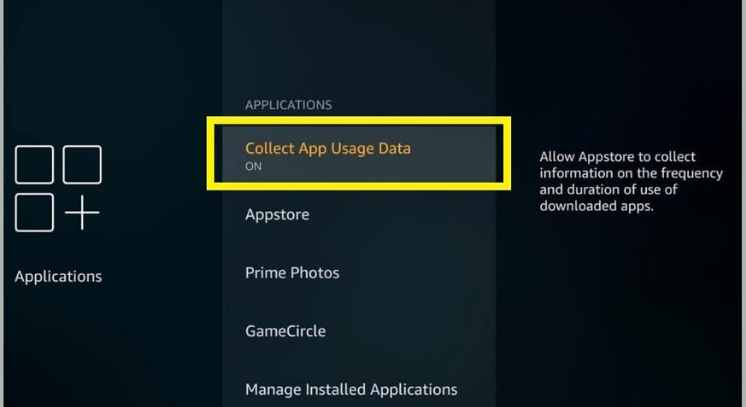 turning off colloec app usage data to install Media Lounge apk