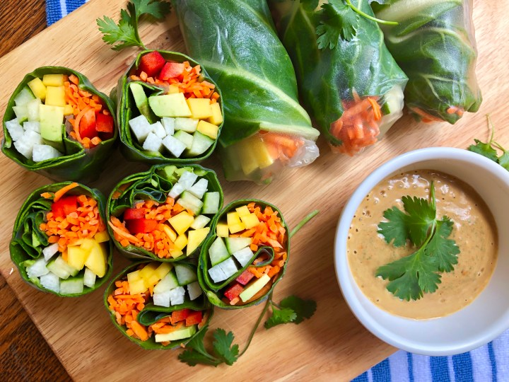 Tropical Summer Rolls with Almond Butter Dipping Sauce