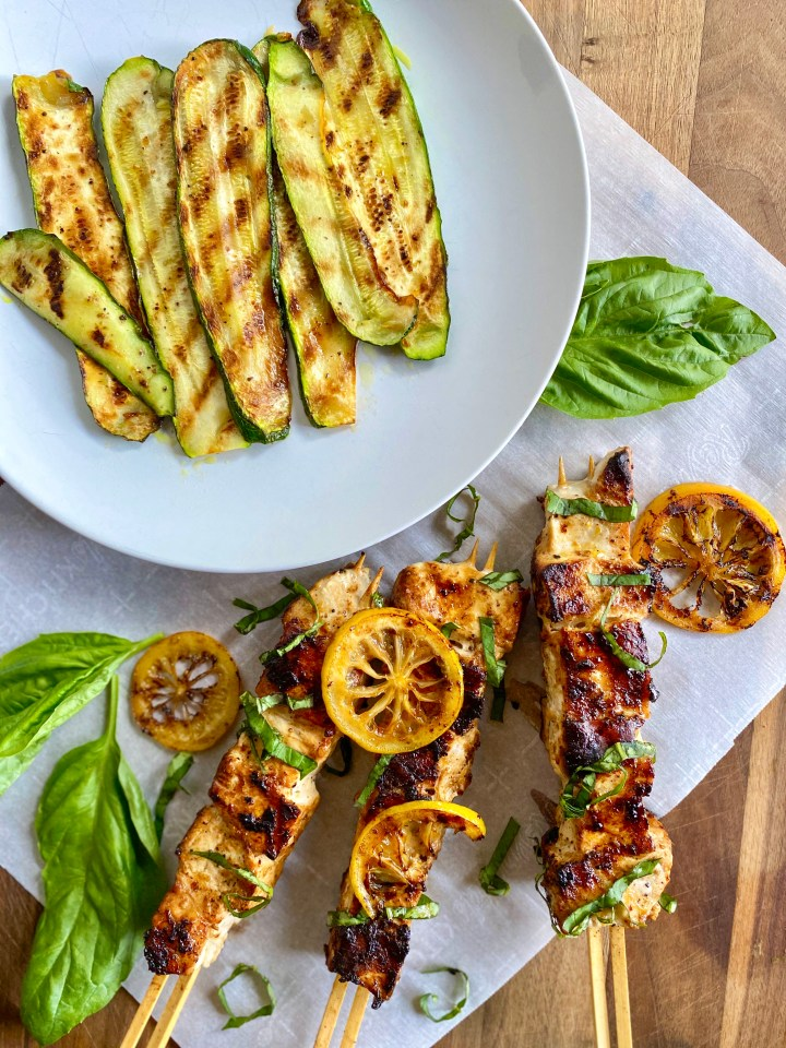 Lemon Pepper Swordfish Kebobs with Grilled Zucchini