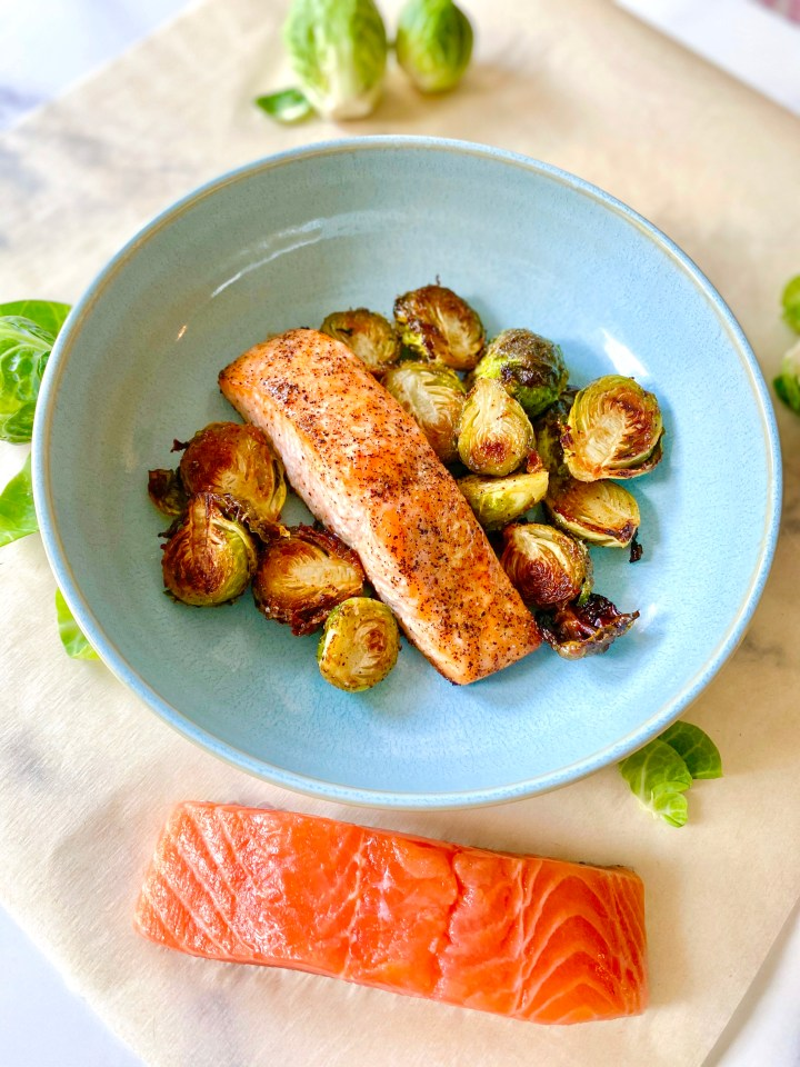 Maple-Dijon Salmon and Brussel Sprouts