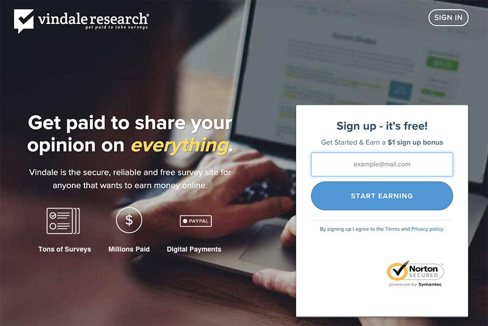 vindale research make money online with survey sites