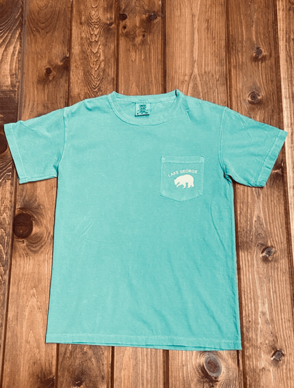 Bear with Lake George Pocket Tee Sea Foam front