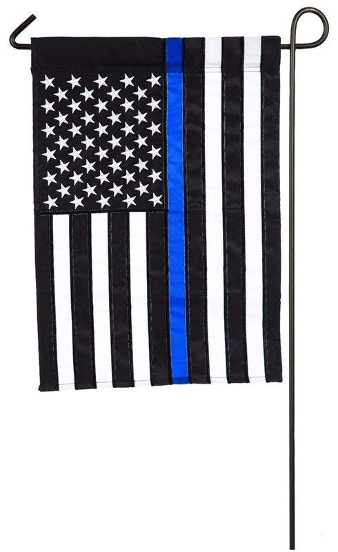 Thin Blue Line Garden Applique Flag