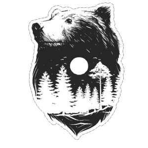 Bear night scene decal