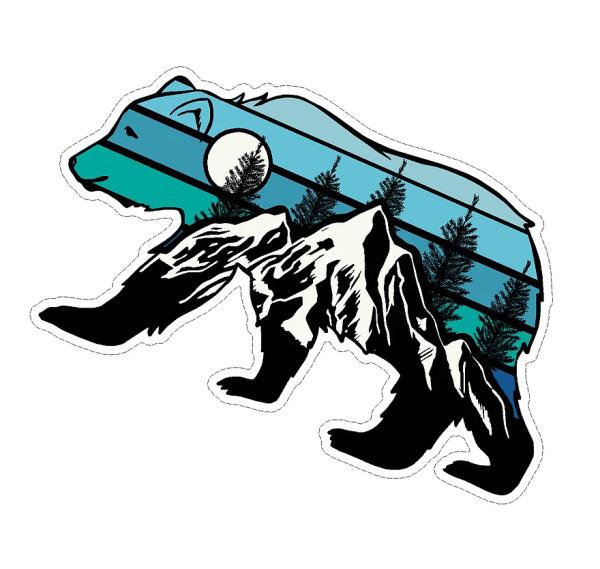 Bear with mountain scene decal