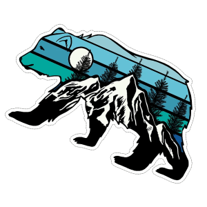 Bear with mountain scene decal