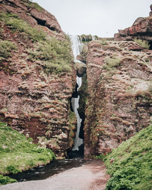 The entrance to Glujfrabui waterfall in Iceland. Find the top 5 waterfalls in Iceland that you don't want to miss on a Ring Road road trip.