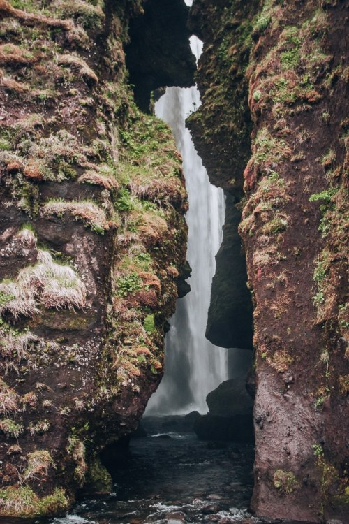 Looking into the canyon at Glujfrabui waterfall in southern Iceland. Find the top 5 waterfalls in Iceland that you don't want to miss on a Ring Road road trip.