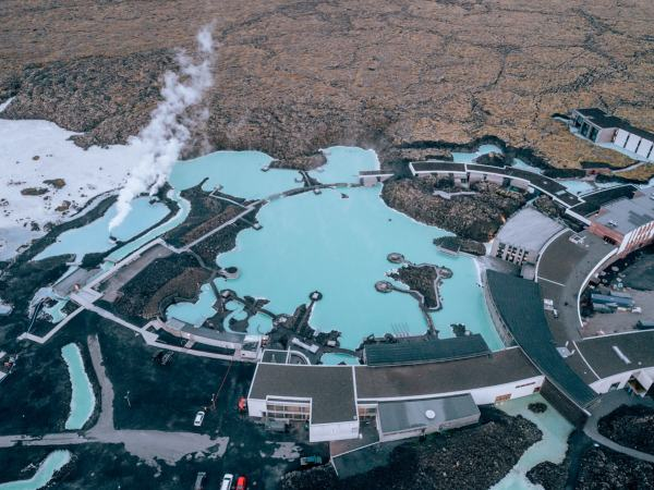 Drone shot of the Blue Lagoon Reykjavik in Iceland in summer. Click here for a full itinerary of Iceland's Ring Road for the perfect Iceland summer road trip.