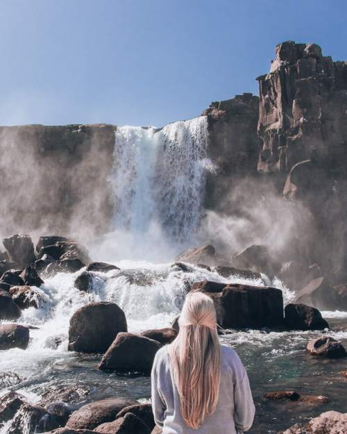 Oxararfoss waterfall in Thingvellir National Park. Check out our perfect 6 day itinerary for Ring Road in Iceland!