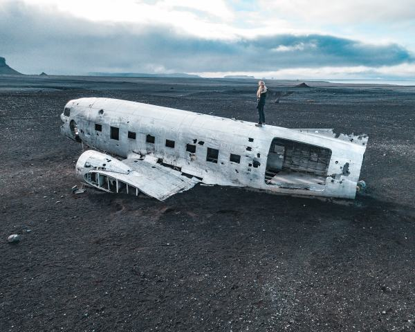 Solheimasandur DC-3 Plane Wreck on the black sand beach in Iceland near Vik. Check out our perfect 6 day itinerary for Ring Road in Iceland!