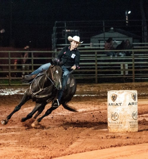 Barrel racing at Westgate River Ranch rodeo