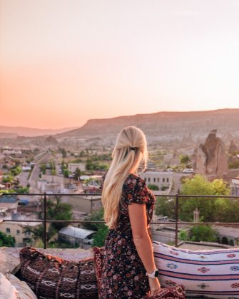 Sunrise from Cappadocia Cave Suites. Click for a guide to Cappadocia's must see locations and most Instagramable places.