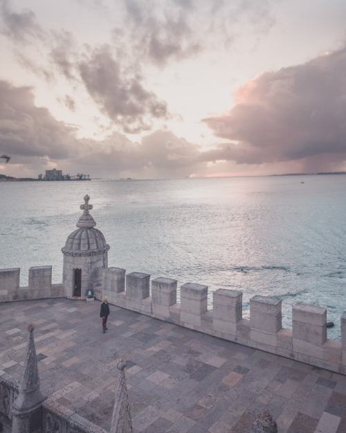 Inside Belem Tower at sunset. Find the best places in Lisbon for Instagrammable photos and when to go to get them to yourself!