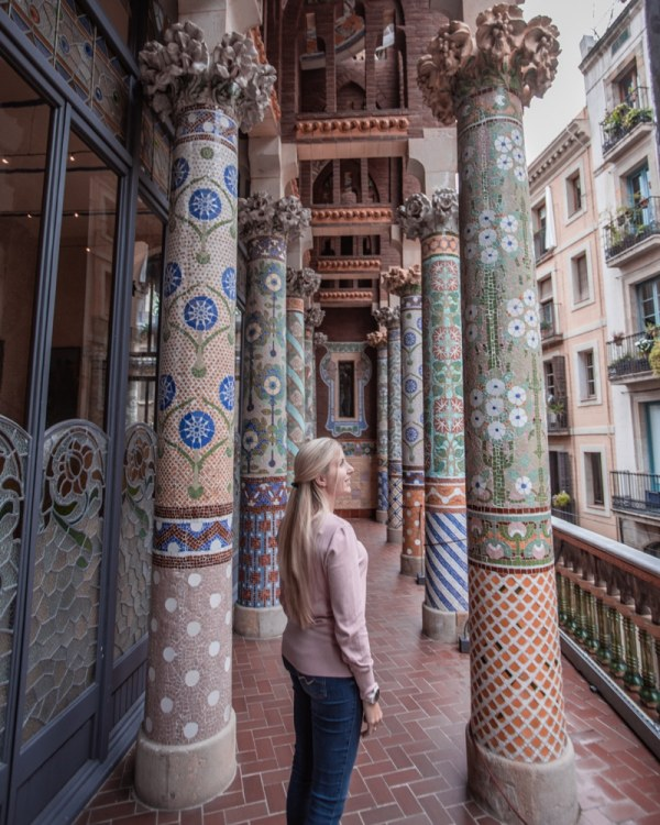 The balcony and beautiful tiled columns at Palau de la Musica in Barcelona is a perfect spot for photos. Get our full guide to Barcelona's most Instagrammable places with a 3 day itinerary here.