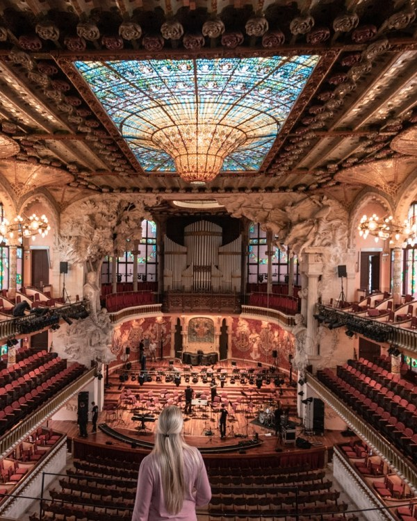 Balcony view of Palau de la Musica in Barcelona. Get a full guide to Barcelona's best things to do in this 3 day itinerary.