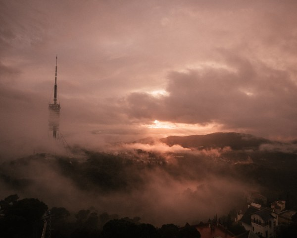 The sunset from the top of Mount Tibidabo when the clouds rolled in. See the perfect itinerary for 3 days in Barcelona!