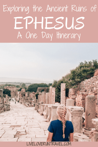 The main street through Ephesus where all the shops once stood. Find a full one day itinerary with everything you need to know about visiting the ancient ruins of Ephesus in Turkey here.