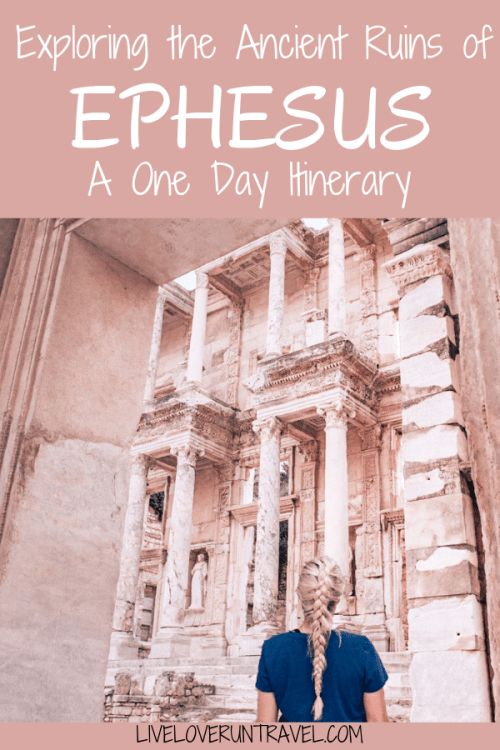 The Library of Celsus is the highlight of the ruins in Ephesus. Find a full one day itinerary with everything you need to know about visiting the ancient ruins of Ephesus in Turkey here.