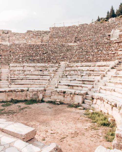 The well-preserved Odeon Theater in Ephesus holds 1,400 people. Find a full one day itinerary with everything you need to know about visiting the ancient ruins of Ephesus in Turkey here.