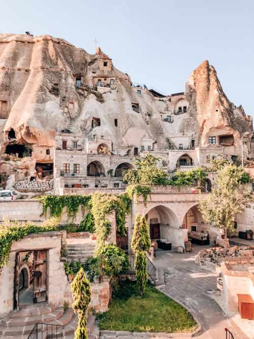 Looking out over Cappadocia Cave Suites and nearby cave hotels in Goreme, Turkey