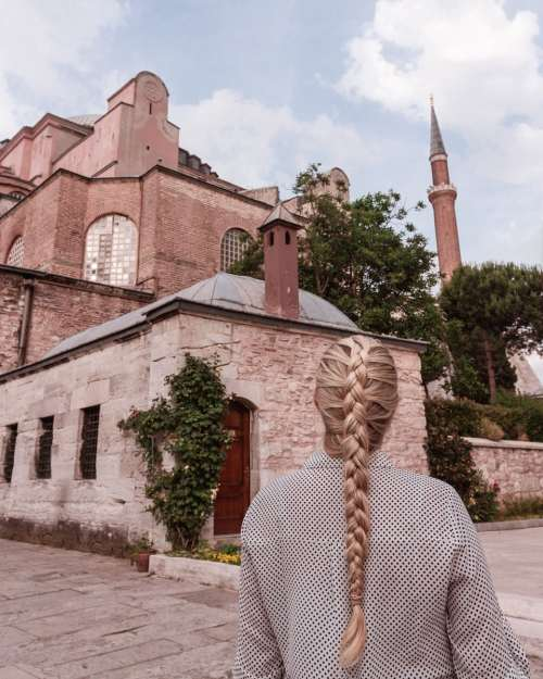 The exterior of the Hagia Sophia.
