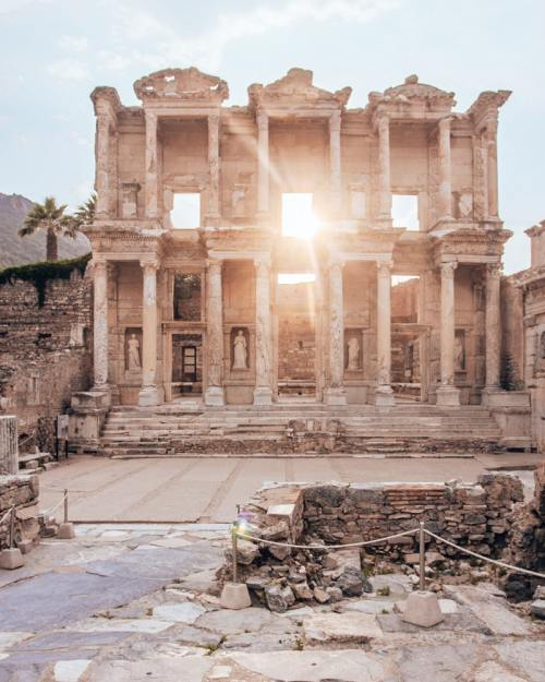 The Library of Celsus in Ephesus at sunset.