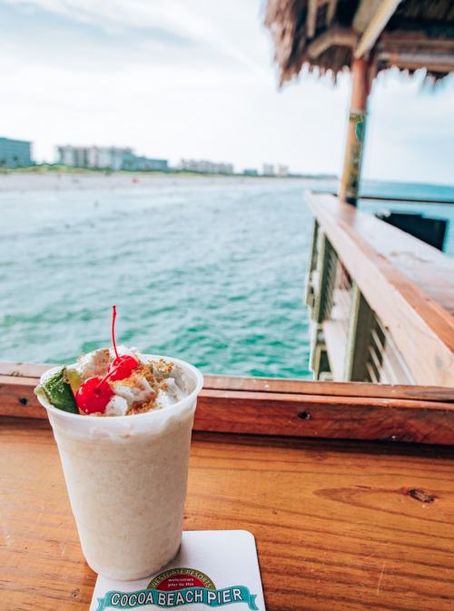 A virgin Key Lime Pie drink at Rikki Tiki Tavern on the Westgate Cocoa Beach Pier. Find a full review of the Cocoa Beach restaurants at the pier here.