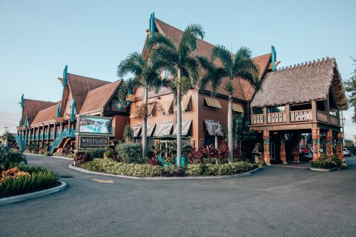 The front of Westgate Cocoa Beach Resort on A1A in Cocoa Beach, Florida. Get a full resort review here.